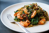 Seared shrimp with chard, chiles and ginger