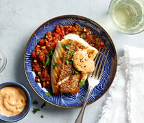 Seared snapper with red pepper relish & garlic mayo