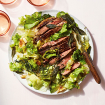 Seared steak with crispy herbs & escarole