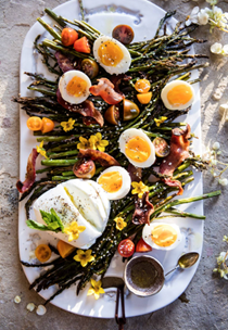 Sesame roasted asparagus, egg and bacon salad