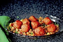 Sesame-spiced turkey meatballs and smashed chickpea salad