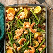 Sheet pan chipotle lime shrimp bake