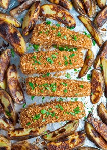 Sheet pan fish and chips