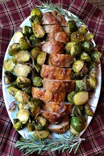 Sheet pan pork tenderloin with maple rosemary Brussels sprouts