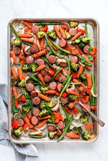 Sheet pan roasted veggies and sausage