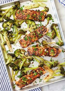 Sheet pan salmon and broccoli with miso butter
