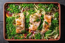 Sheet pan salmon with minty peas, orange and fennel