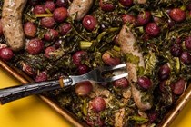 Sheet pan sausage dinner with roasted grapes + broccoli rabe