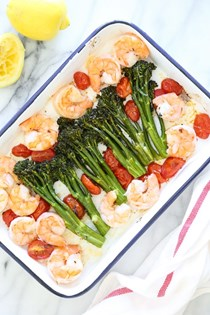 Sheet pan shrimp with broccolini and tomatoes