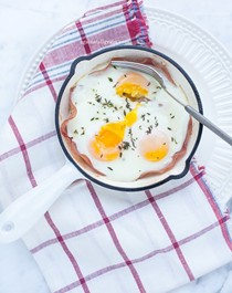 Shirred eggs with ham