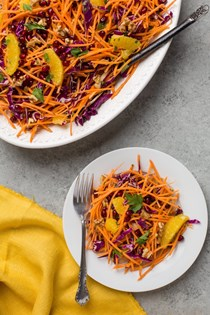 Shredded cabbage and sweet potato slaw