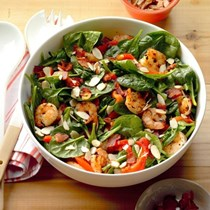 Shrimp & spinach salad with hot bacon dressing