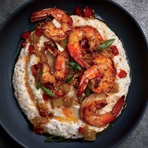 Shrimp and grits with mustard seed chowchow