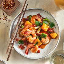 Shrimp stir-fry with green pepper, pineapple & bacon