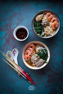 Singapore prawn and pork ribs noodle (Hae mee)