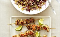 Skewered chicken with lime, chilli and mint salad and China rose sprouts