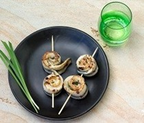 Skewered garfish rolls