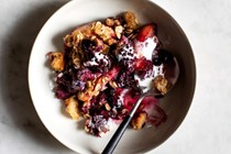 Skillet berry and brown butter toast crumble