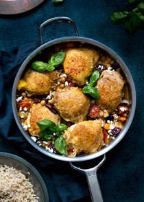 Skillet chicken with chickpeas, tomatoes, and olives