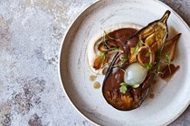 Slow-cooked aubergines, tamarind, roasted onion, white bean purée