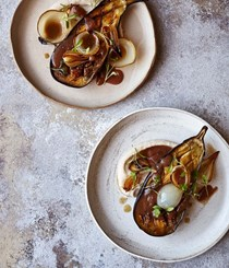 Slow-cooked aubergines, tamarind, roasted onion, white bean puree