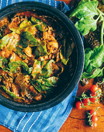 Slow-cooked kelp, bean, lamb and wild greens stew
