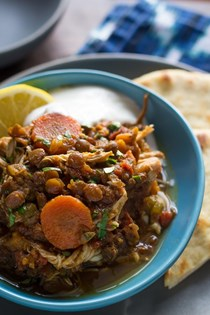 Slow cooker Ethiopian chicken and lentil stew
