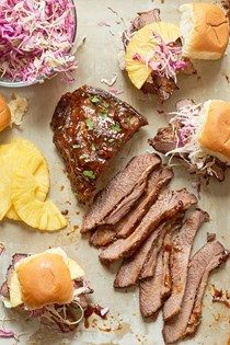 Slow cooker Hawaiian brisket sandwiches