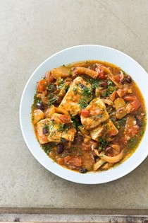 Slow-cooker Moroccan fish tagine