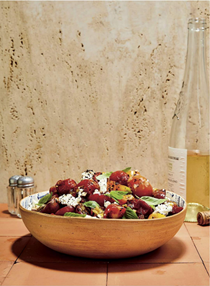 Slow-roasted and fresh cherry tomato salad with feta, basil and honey