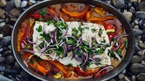 Slow-roasted cod with bell peppers and capers