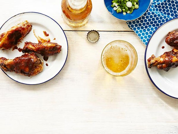 Smoked jerk chicken wings with spicy honey-tamarind glaze