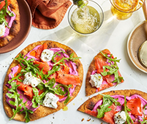 Smoked salmon flatbread with whipped beet labneh