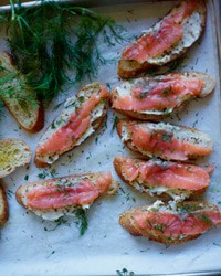 Smoked-salmon toasts with mustard butter