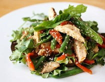 Smoky chicken salad with roast peppers, shiitake and sugar snap peas