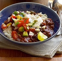 Smoky chipotle black bean chili with roasted vegetables, fresh salsa and rice pilaf (Summer version)