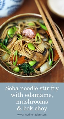 Soba noodle stir-fry with edamame, mushrooms and bok choy