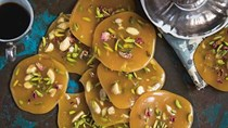 Sohan saffron honey caramels with rose water, pistachio and almonds