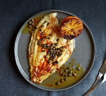 Sole meunière with blood orange & crispy capers