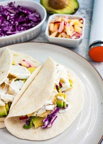 Sous vide fish tacos with fall apple slaw
