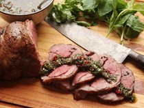 Sous vide leg of lamb with mint, cumin, and black mustard