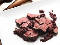 Sous vide leg of lamb with black olives