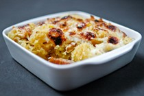 Spaghetti squash gratin with walnut and bacon