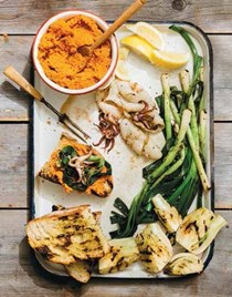 Spanish romesco sauce with grilled accompaniments