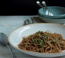 Spelt spaghetti with olives & anchovies