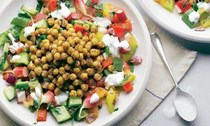 Spiced chickpeas & fresh vegetable salad