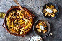 Spiced chickpeas with cauliflower and roasted lemon