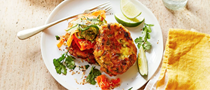Spiced fish cakes with carrot and cucumber salad