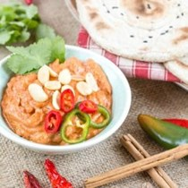 Spiced flatbread with African peanut sauce
