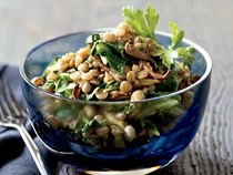 Spiced lentils with mushrooms and greens [Jill Donenfeld]